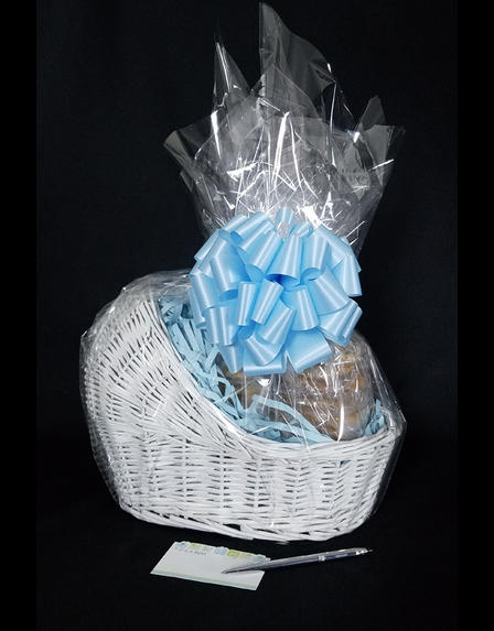 Baby Bassinet - Baby Blue Bow - 24 Cookies and Brownies