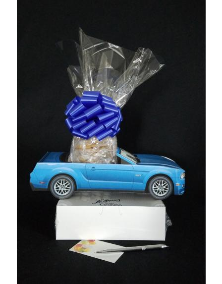 Small Tower - Blue Modern Car - Clear Cellophane - Blue Bow
