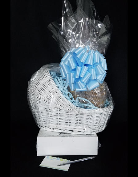 Baby Bassinet - Small Tower - Baby Blue Bow - 48 Cookies and Brownies