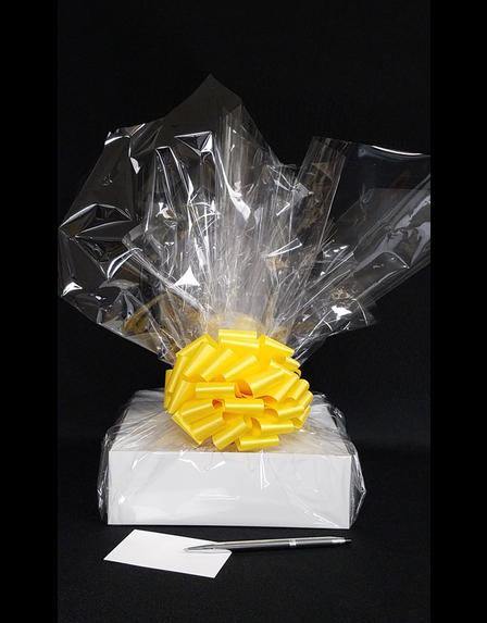 Medium Box - Clear Cellophane - Yellow Bow - 18 Cookies and Brownies