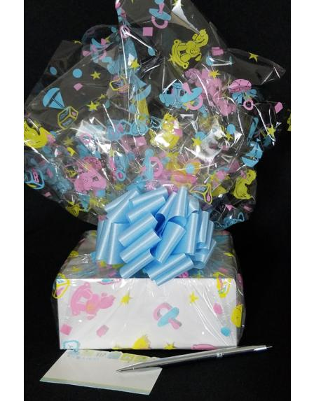 Small Box - Baby Cellophane - Baby Blue Bow - 12 Cookies and Brownies