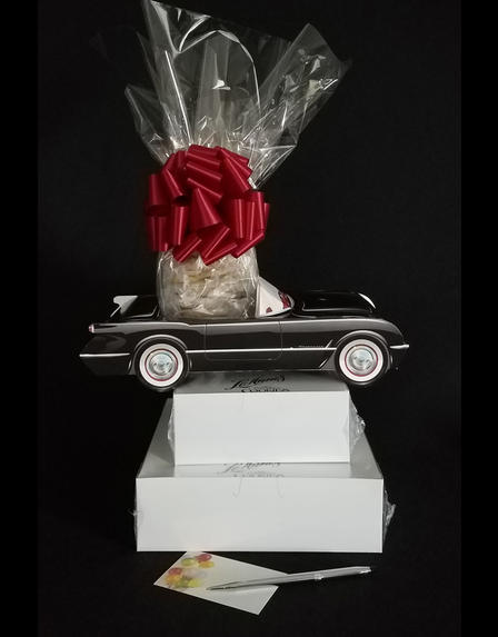 Large Tower - Black Classic Car - Clear Cellophane - Red Bow