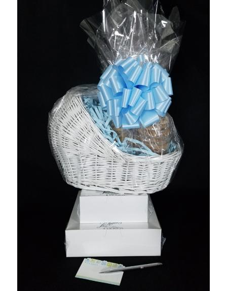 Baby Bassinet - Large Tower - Baby Blue Bow - 60 Cookies and Brownies