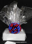 Medium Box - Clear Cellophane - Red & Blue Bow - 18 Cookies and Brownies