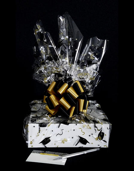 Medium Box - Graduation Cap Cellophane - Black & Gold Bow - 18 Cookies and Brownies