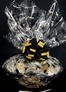 Super Basket - Graduation Cap Cellophane - Black & Gold Bow - 60 Cookies and Brownies