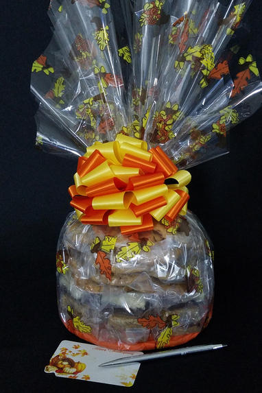 Large Cellophane - Fall Leaves Cellophane - Orange & Yellow Bow - 30 Cookies and Brownies