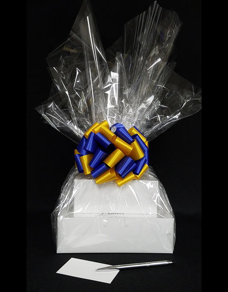 Large Tower - Clear Cellophane - Blue & Yellow Bow - 36 Cookies and Brownies