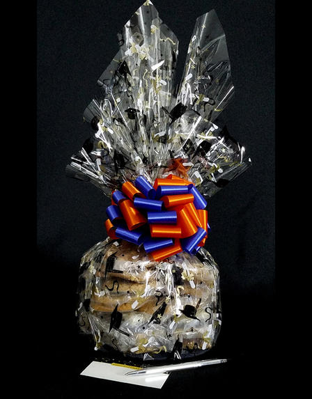 Large Cellophane - Graduation Cap Cellophane - Blue & Orange Bow - 30 Cookies and Brownies