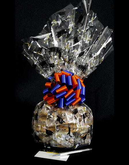 Super Cellophane - Graduation Cap Cellophane - Blue & Orange Bow - 42 Cookies and Brownies