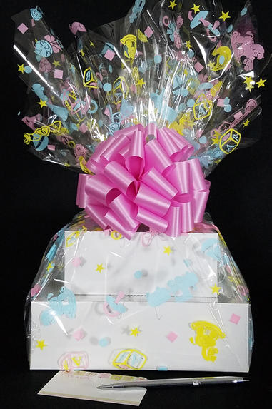Large Tower - Baby Cellophane - Baby Pink Bow - 36 Cookies and Brownies