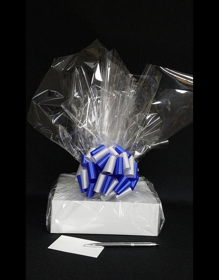 Medium Box - Clear Cellophane - Blue & Silver Bow - 18 Cookies and Brownies