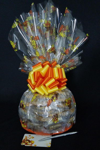 Super Cellophane - Fall Leaves Cellophane - Orange & Yellow Bow - 42 Cookies and Brownies