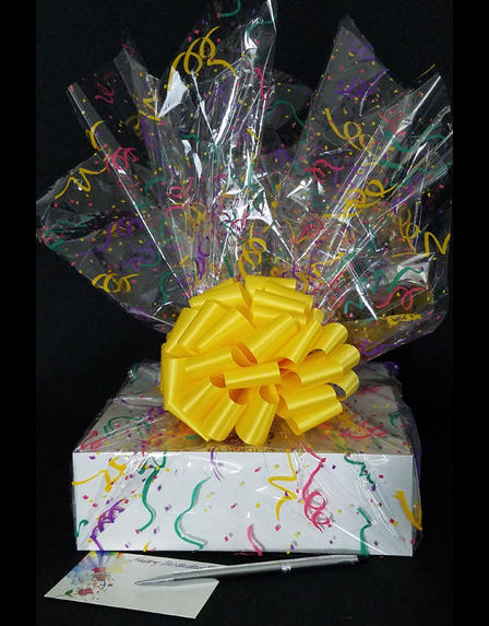 Medium Box - Confetti Cellophane - Yellow Bow - 18 Cookies and Brownies