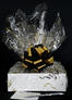 Medium Box - Black & Gold Cellophane - Black & Gold Bow - 18 Cookies and Brownies