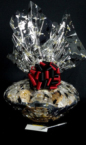 Super Basket - Graduation Cap Cellophane - Red & Black Bow - 60 Cookies and Brownies