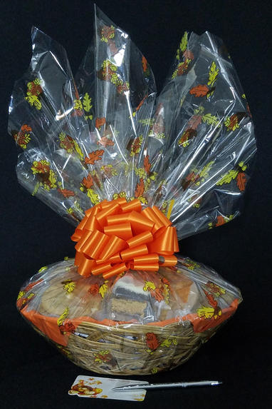 Large Basket - Fall Leaves Cellophane - Orange Bow - 36 Cookies and Brownies
