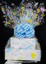 Large Tower - Baby Cellophane - Baby Blue Bow - 36 Cookies and Brownies