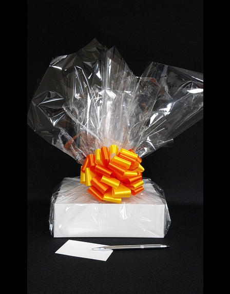 Medium Box - Clear Cellophane - Orange & Yellow Bow - 18 Cookies and Brownies