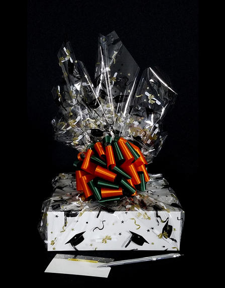 Medium Box - Graduation Cap Cellophane - Green & Orange Bow - 18 Cookies and Brownies