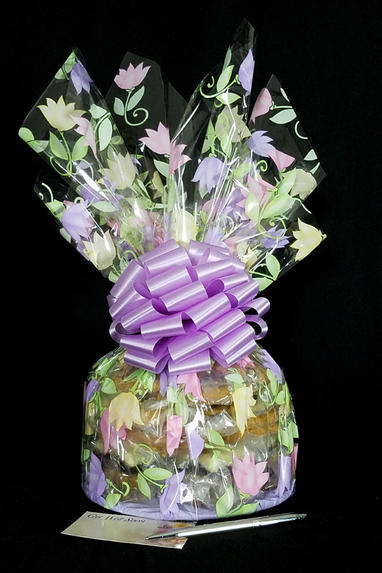 Large Cellophane - Lily Cellophane - Lavender Bow - 30 Cookies and Brownies