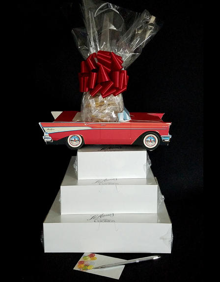 Super Tower - Red Classic Car - Clear Cellophane - Red Bow