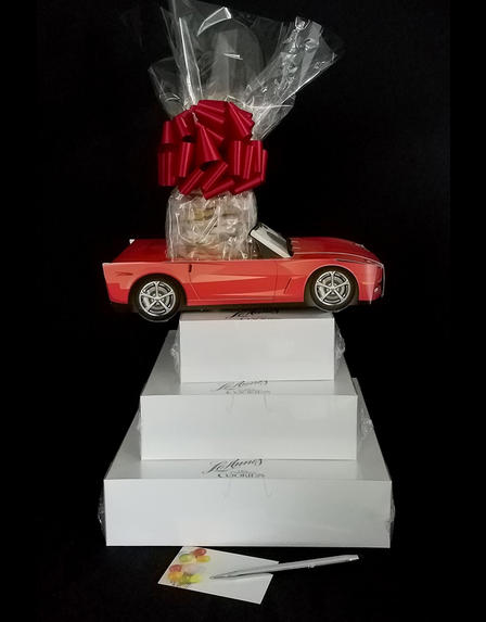 Super Tower - Red Modern Car - Clear Cellophane - Red Bow