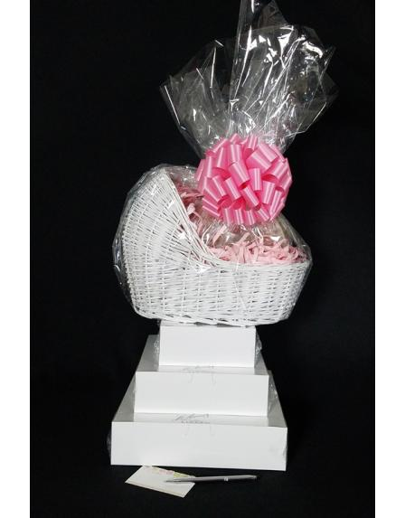 Baby Bassinet - Super Tower - Baby Pink Bow - 96 Cookies and Brownies