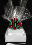 Large Tower - Clear Cellophane - Red & Green Bow - 36 Cookies and Brownies