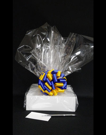 Medium Box - Clear Cellophane - Blue & Yellow Bow - 18 Cookies and Brownies