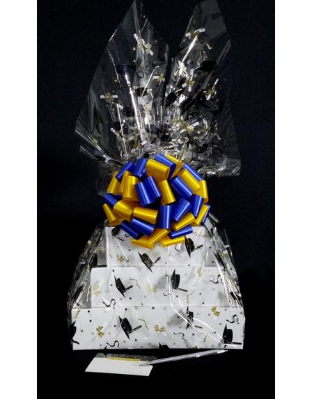 Super Tower - Graduation Cap Cellophane - Blue & Yellow Bow - 72 Cookies and Brownies