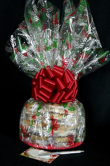 Super Cellophane - Holly & Berries Cellophane - Red Bow - 42 Cookies and Brownies