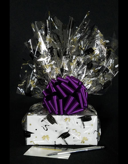 Small Box - Graduation Cap Cellophane - Purple Bow - 12 Cookies and Brownies