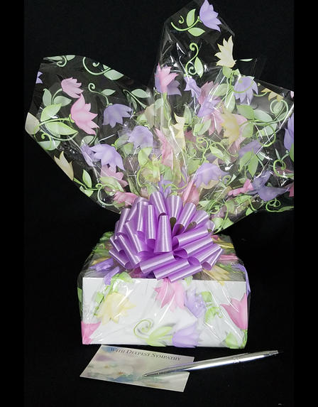 Small Box - Lily Cellophane - Lavender Bow - 12 Cookies and Brownies