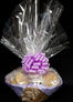 Large Basket - Clear Cellophane - Lavender Bow - 36 Cookies and Brownies