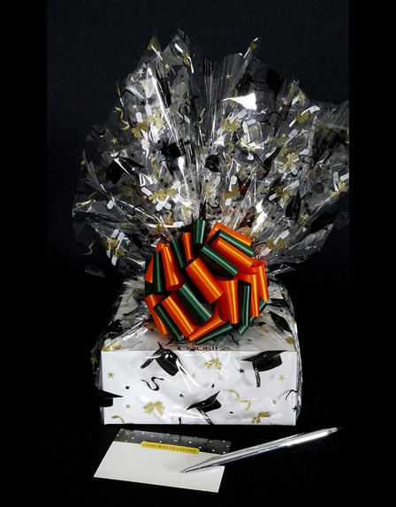 Small Box - Graduation Cap Cellophane - Orange & Green Bow - 12 Cookies and Brownies