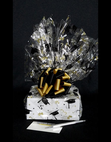 Small Box - Graduation Cap Cellophane - Black & Gold Bow - 12 Cookies and Brownies