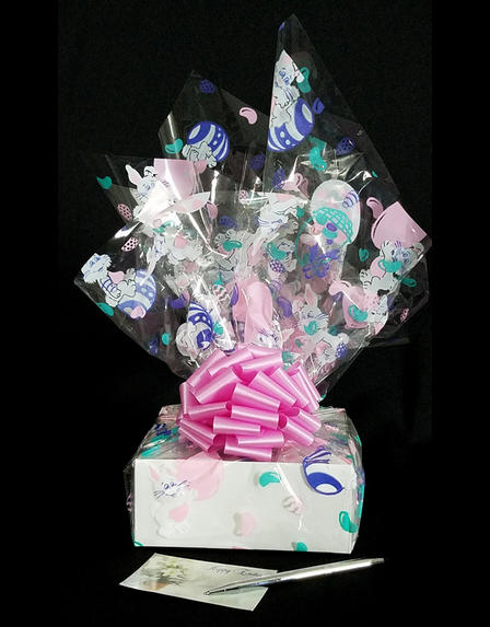 Small Box - Bunny Cellophane - Pink Bow - 12 Cookies and Brownies