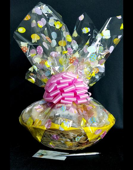 Large Basket - Easter Egg Cellophane - Pink Bow - 36 Cookies and Brownies