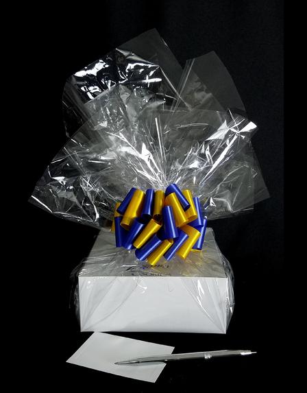 Small Box - Clear Cellophane - Blue & Yellow Bow - 12 Cookies and Brownies