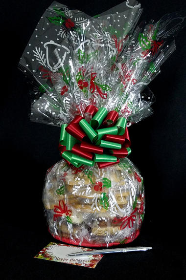Medium Cellophane - Holly & Berries Cellophane - Red & Green Bow - 24 Cookies and Brownies