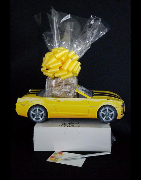 Small Tower - Yellow Modern Car - Clear Cellophane - Yellow Bow