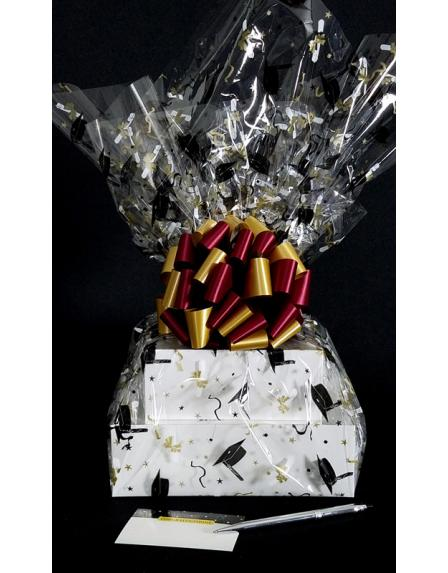 Large Tower - Graduation Cap Cellophane - Garnet & Gold Bow - 36 Cookies and Brownies