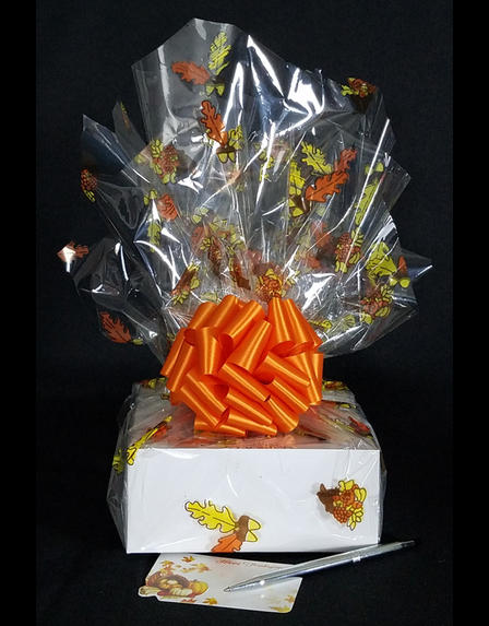 Small Box - Fall Leaves Cellophane - Orange Bow - 12 Cookies and Brownies