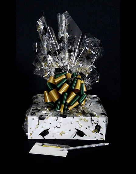 Medium Box - Graduation Cap Cellophane - Green & Gold Bow - 18 Cookies and Brownies