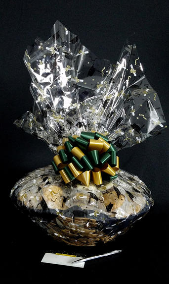 Super Basket - Graduation Cap Cellophane - Green & Gold Bow - 60 Cookies and Brownies