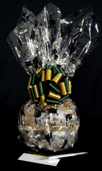 Medium Cellophane - Graduation Cap Cellophane - Green & Gold Bow - 24 Cookies and Brownies