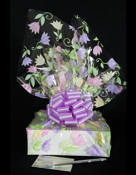 Medium Box - Lily Cellophane - Lavender Bow - 18 Cookies and Brownies