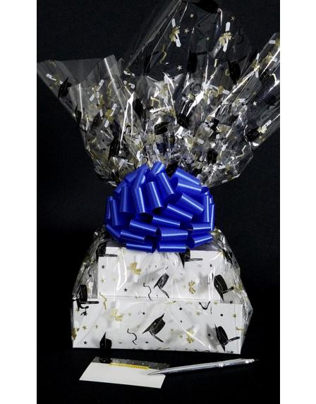 Large Tower - Graduation Cap Cellophane - Blue Bow - 36 Cookies and Brownies