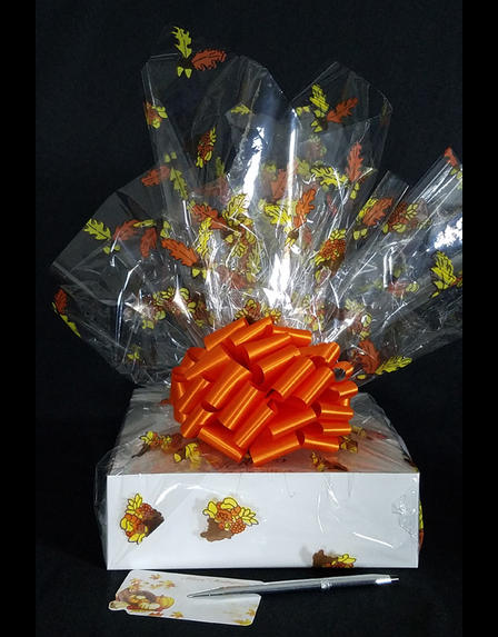Medium Box - Fall Leaves Cellophane - Orange Bow - 18 Cookies and Brownies